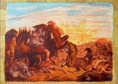 aligi sassu battaglia all alba acquaforte 1987