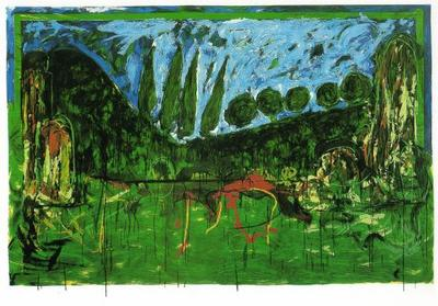 mario schifano veduta centro italiano serigrafia 1993