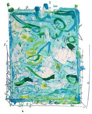 mario schifano waterlilies litoserigrafia 1988