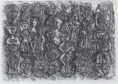 massimo campigli folla di donne litografia