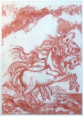 aligi sassu cavalli araldici acquaforte 1993