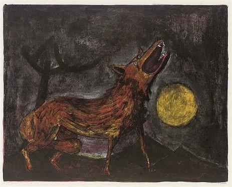 rufino tamayo perro aullando a la luna litografia 1957