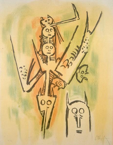wilfredo lam le regard vertical litografia 1973 A